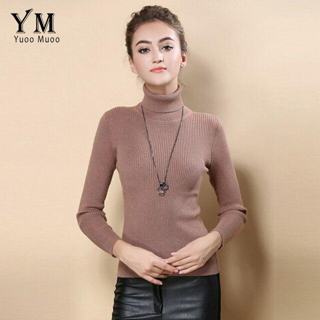 Yuoomuoo высокое качество женские свитер Новый Водолазка пуловер зимние топы твердых кашемировый свитер осень, для женщин свитер Лидер продаж