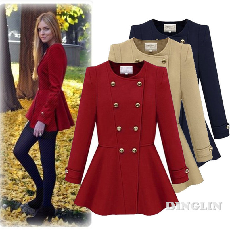 Womens Long Sleeve Belted Trench Coat Casual Jacket Long Parkas Double-breasted