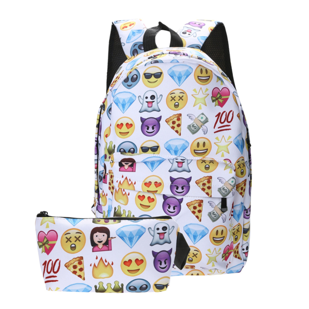 2 PCS Hot Selling Waterproof Leisure Nylon Travel Backpack Clutch Bag 3D Smiley Emoji Face Printing School Bag Teenagers Mochila