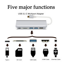 Usb 3.1 Berkualitas Tinggi TYPE-C untuk HDMI OTG Charge Adaptor USB3.0 HUB Splitter SD/TF Card Reader untuk apple Macbook Proyektor(China)