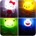 LED Light Sensor Control KT Kitty Cartoon Baby Night Light Decor Mini Wall Lamp Panda Novelty Lighting for Kids Bedroom US Plug