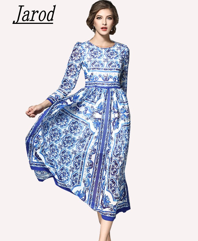 Spring Women <font><b>Dress</b></font> 2018 <font><b>Sexy</b></font> Slim Runway Print Blue And White Porcelain Female Long Sleeve Party Long <font><b>Dress</b></font> image
