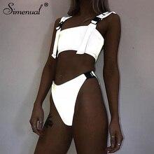 Simenual Buckle Reflective Sexy Swimwear Women Two Pieces Set 2019 Fashion Casual Tankini Summer Hot Streetwear Outfits New