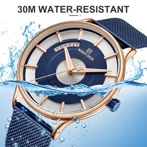 Image 5 - NAVIFORCE montre à Quartz pour hommes, montre bracelet, étanche, maille en acier inoxydable, sport, horloge, Date