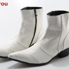 Zobairou Ботинки Челси мужские черные белые ковбойские сапоги мужские кожаные ботильоны из змеиной кожи мужская зимняя обувь мотоциклетная обувь