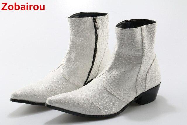 Zobairou chelsea çizmeler erkekler siyah beyaz kovboy çizmeleri mens yılan derisi deri yarım çizmeler erkek kış ayakkabı motosiklet ayakkabı