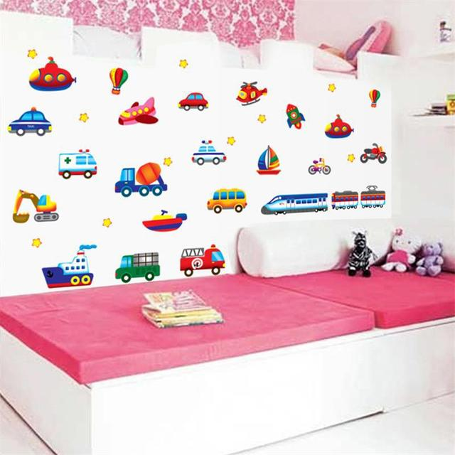 Kid Cartoon Car Plane Wall Stickers For S Room Decals Children Nursery Decorative