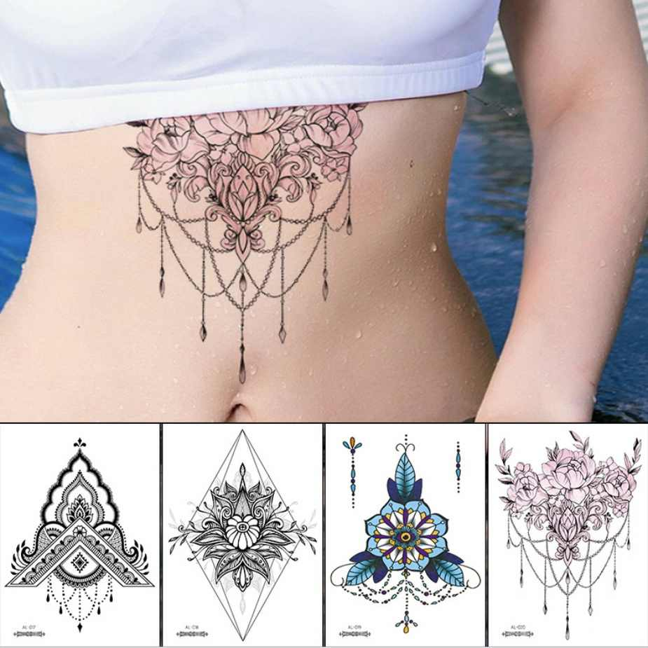 Under Breast Tattoo Stickers Body Art Waterproof Temporary Tattoo Women Lace Jewelry Flower Tatoo For Girls Sticker Indian Aliexpress