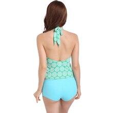 Vintage Women Bikini Set Halter Bandage Dot Stripe Backless Sexy V-neck Crop Tank Underwear Bottom Swimsuits Swimwear