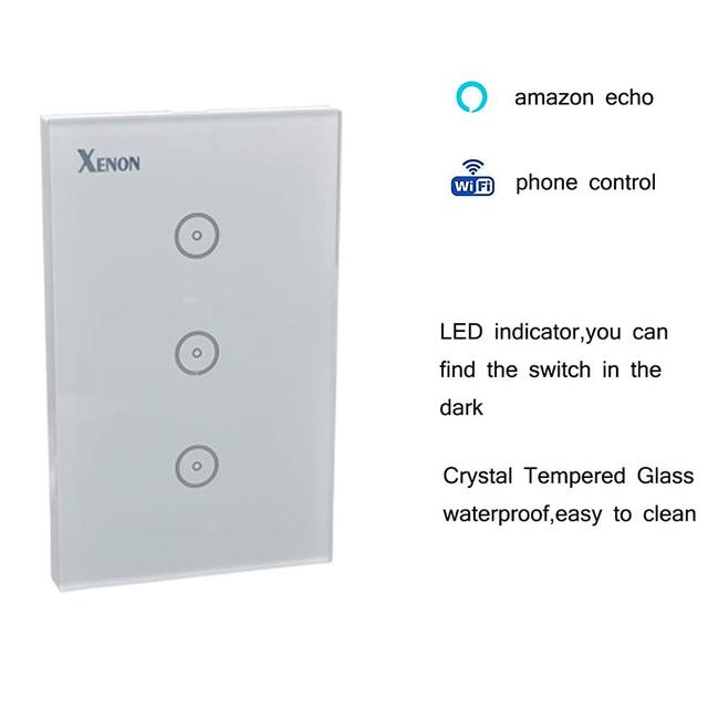 Xenon WiFi Smart Wall Light Switch,Work with Alexa,Remote Control ...