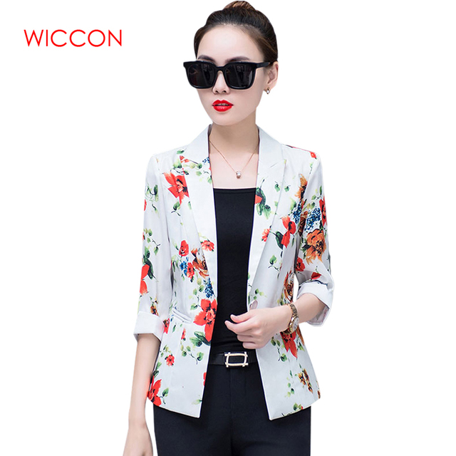 New Autumn Three Quarter Sleeve Printed Blazers Women Fashion Casual Single Button Blazers OL Office Workwear Elegant Blazers