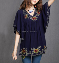 Women Dress Cotton Tops Blouse Tunic Vestidos Vintage Mexican Ethnic Floral EMBROIDERY Mini DRESSES Casual DRESS Free Shipping