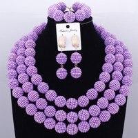 Purple Party Bridal Jewelry Sets Pearls Ball Beads Necklace Jewelry Big Design Nigerian African Wedding Jewelry Set Dubai