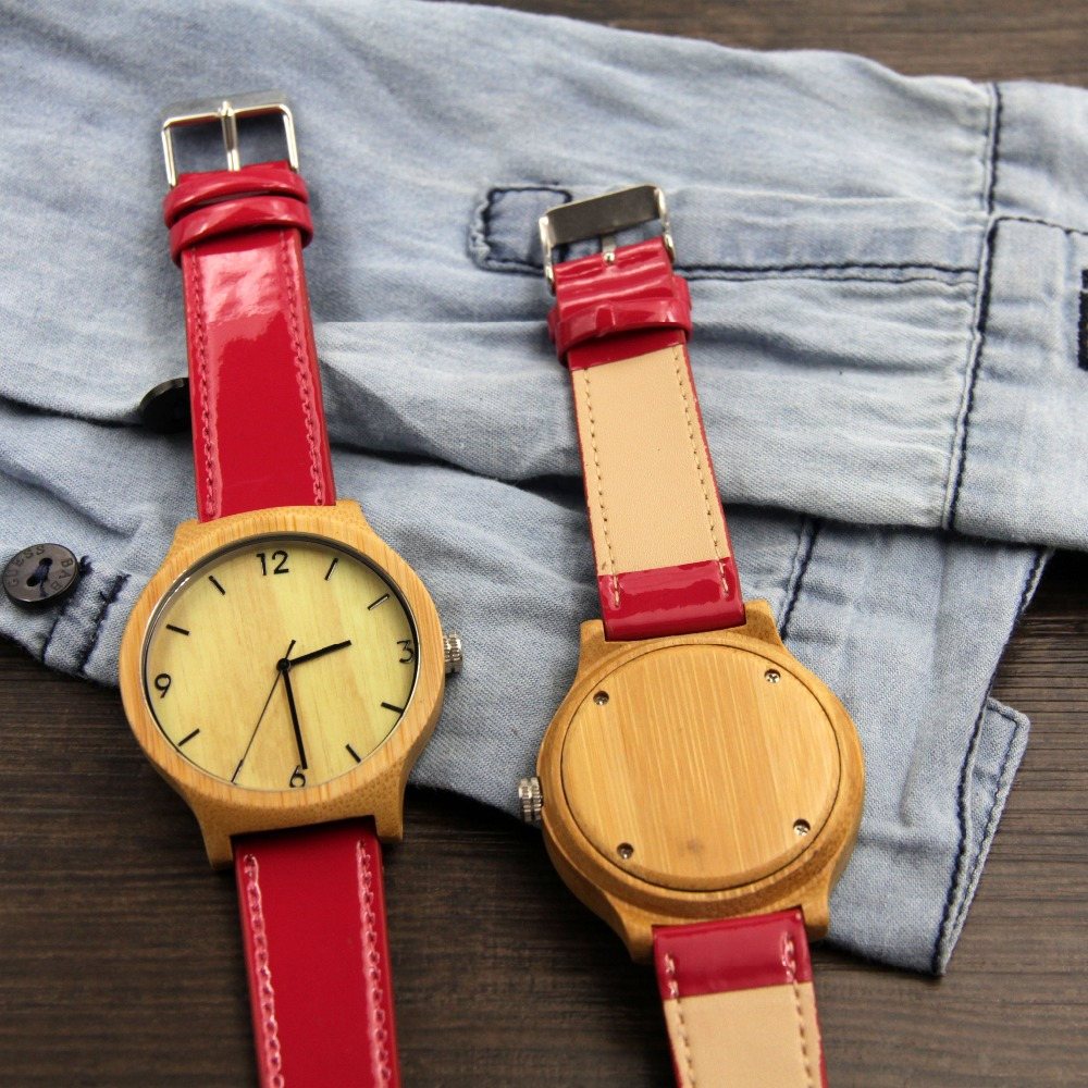 Women japan movement Fashion Bamboo Wood Watch with Genuine Leather Watchband For lady Gifts