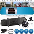 New F8C 4.3 Inch 1080P HD 170 Degree Parking Rear View Rearview Mirror TFT Dual Lens Car DVR Dash Camera Video Recorder