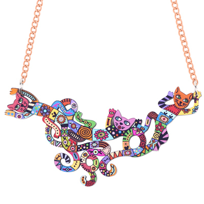 Bonsny Cat Necklace Acrylic...