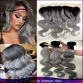 Dark root colored two tone ombre grey brazilian hair extensions body wave 3pcs with lace frontal silver grey ombre hair weaves
