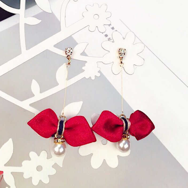 Women Asphalt 1Pair Korean Long Pearl Gray green 2018 New Arrival Bowknot Allergy Free Wine red Free Shipping Pink Girls