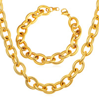 2016 Men Necklace Bracelet Set Hiphop Stainless Steel Set For Men Gold color Black Gun color Aluminum Chains S2151G