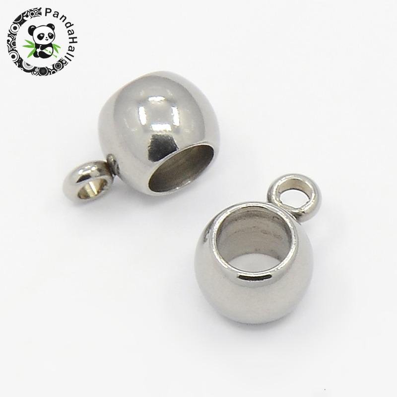 100PCS Tibetan Silver Alloy Hanger Links Rondelle Bail Beads Drum Antique Silver