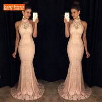 Fashion Pink Mermaid Evening Dresses 2019 Evening Gowns Long Women sell well Halter Lace Floor Length Cheap Prom Dress In Stock