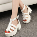 New Summer Lady Strappy Platform Block Heel Chunky Pure Buckle Leather Peep Toe Ankle High Sandals Women Gladiator Shoes 3335W