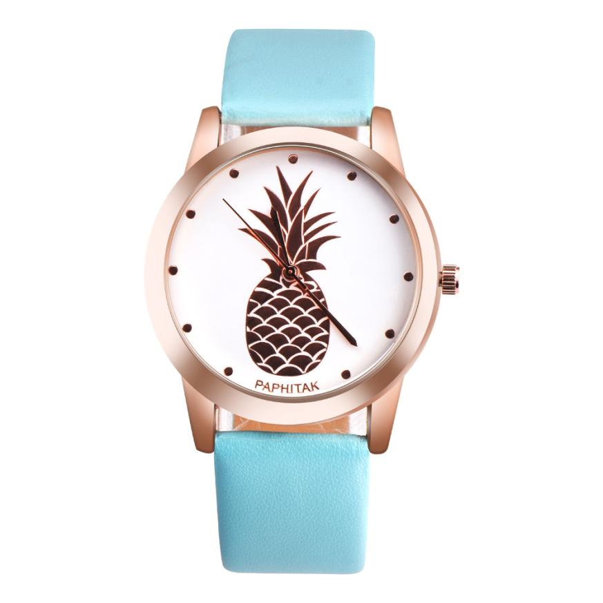 цены 2018 Vintage Watches Women Pineapple Pattern Leather Strap Casual Quartz Wrist Watch Female Clock Montre Femme
