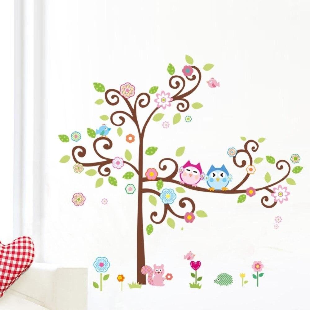 kawaii owls tree wall stickers for kids room decorations nursery cartoon children girls home decals 1011. animals mural arts 4.0