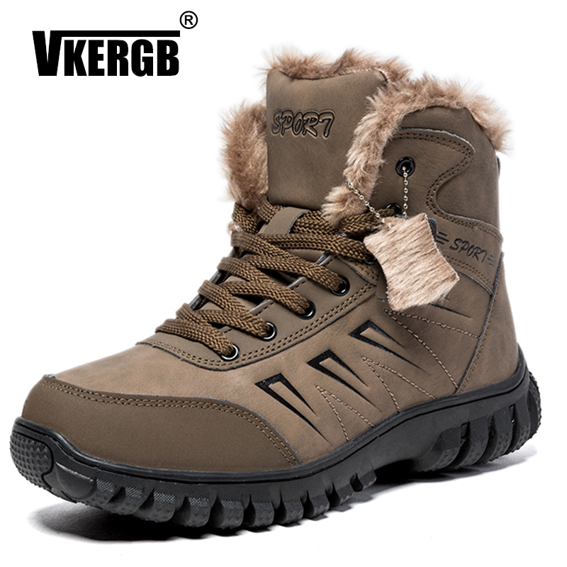 Vkergb Male Winter Warm Black Men Flat Short Casual Ankle Snow Boots Waterproof Hiking Shoes Fashion Army Genuine Leather Boots