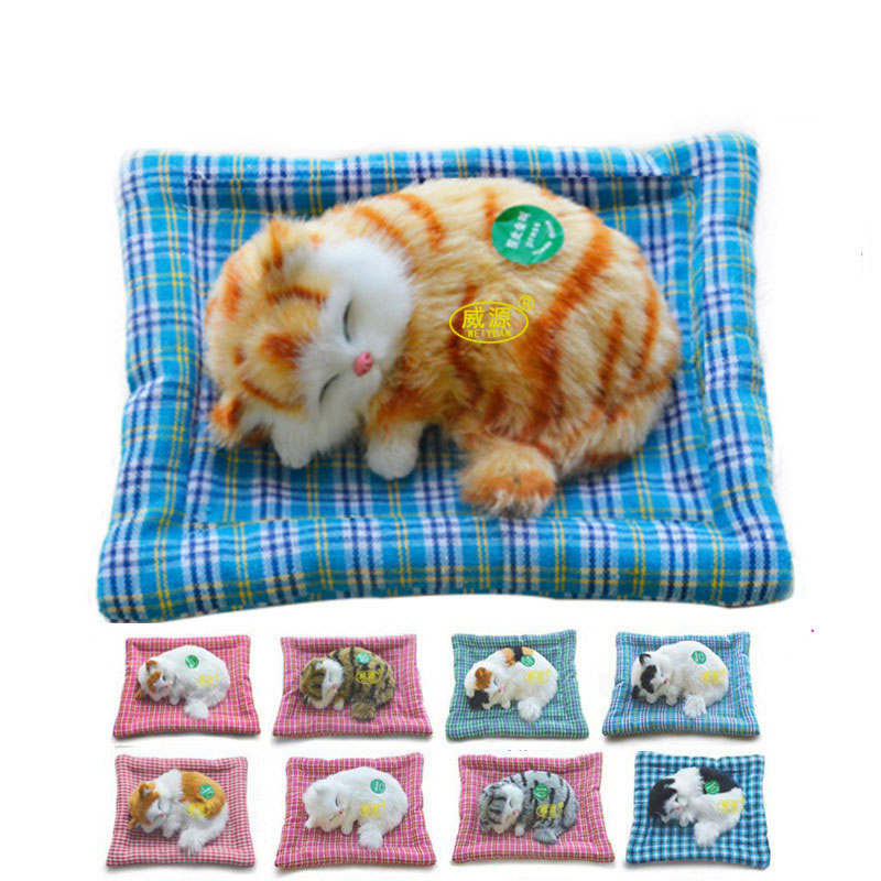 1PC Simulation Cat With Sleeping Pad Carpet Soft Fur Animal Electronic Pets Cat Sound Gift Presnent Decoration Crafts Christmas