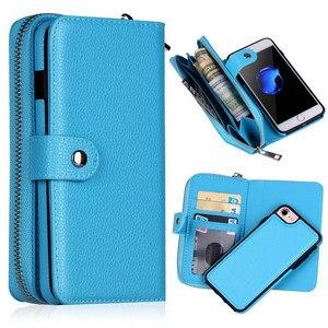 Image 3 - Съемный кожаный чехол кошелек на молнии для Samsung Galaxy S10 S10E S9 S8 S7 S6 Edge Plus Note 9 8 10 Plus Многофункциональный чехол
