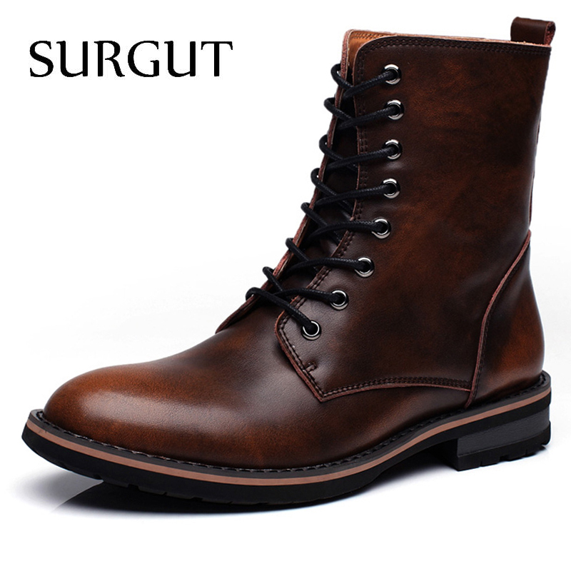SURGUT Men Motorcycle Boots Vintage Combat Boot Winter Fur 2019 New Cow Split Leather Waterproof Buckle Military Boots Men Shoes