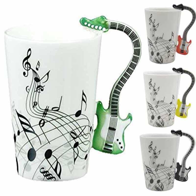 Creative Guitar Music Handgrip Mug Ceramic Mugs 300ml Coffee Cup novelty Gift Lovers Water Cups Bottle