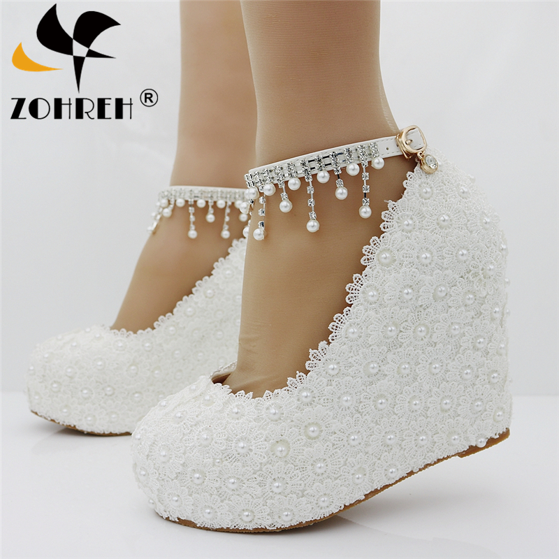 New Wedges White/pink Lace-Up Wedding Extra High Shoes Woman 11Cm High Heels Shoes Bridesmaid Fashion Ankle Strap Womens Pumps