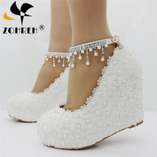 New Wedges White/pink Lace-Up Wedding Extra High Shoes Woman