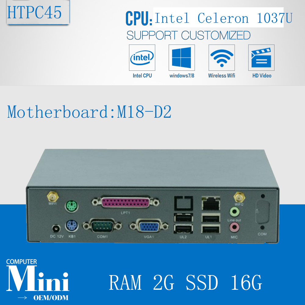 Fanless Mini PC 12V/3A  HTPC Intel Celeron 1037U Dual Core 2G RAM 16G SSD Mini Computer HDMI 1080P  MINI PC