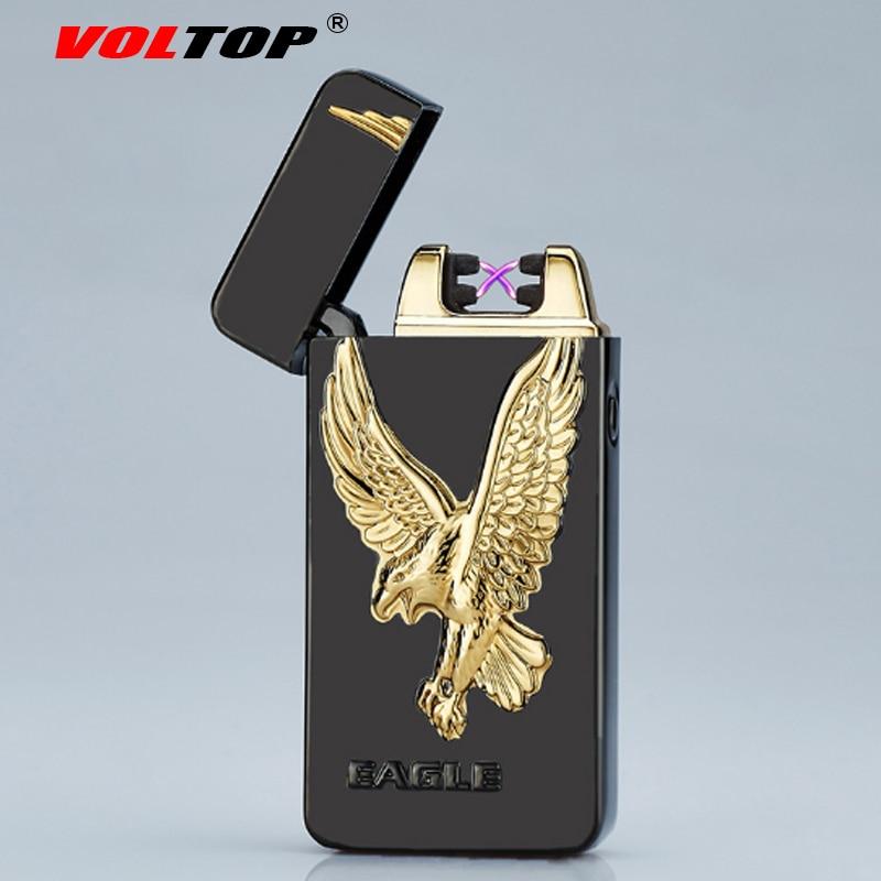 VOLTOP Relief Totems Lichtbogen Impuls Feuerzeug Winddicht Geprägte Überzug Zigarettenanzünder USB-Lade Rauchen Zubehör