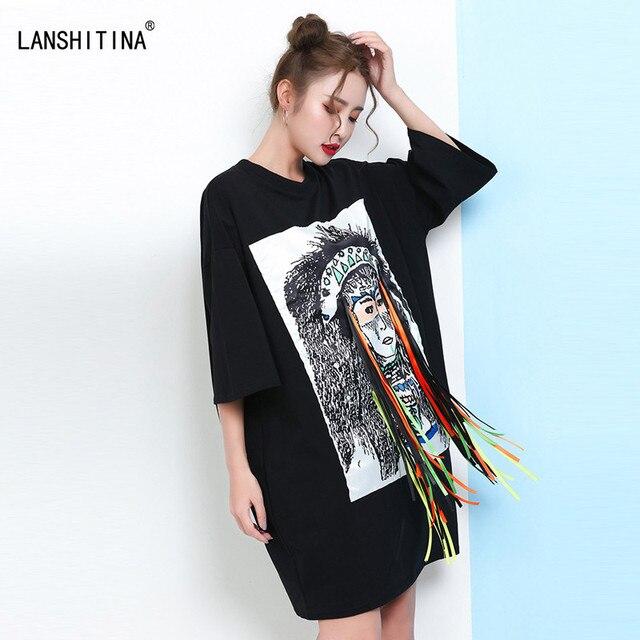 c202a584f24 2017 Plus Size Indian Print Women Loose T-shirts Dress Half Sleeve Tassel  Korea Style