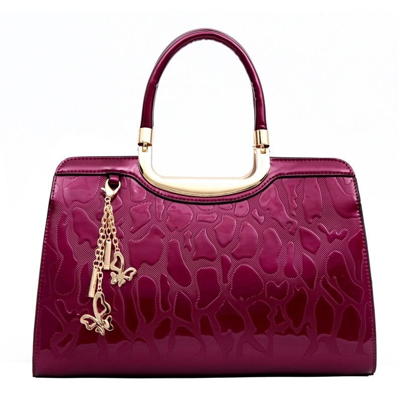 2017 New Fashion Stone Pattern Women Handbags High Quality Patent Leather Female Ladies Shoulder Bags Girl