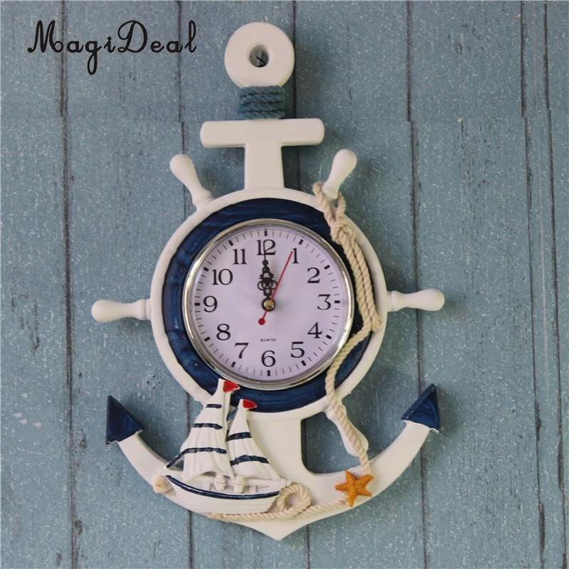 3409 Nautical Wooden Mediterranean-Style Retro Sea Anchor Small Alarm Clock