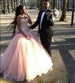Vestidos de 15 años Pêssego Vestidos Quinceanera Com Beading Bow Tule 16 Anos Festa de Aniversário Vestido de Baile de Máscaras Vestidos de Dubai