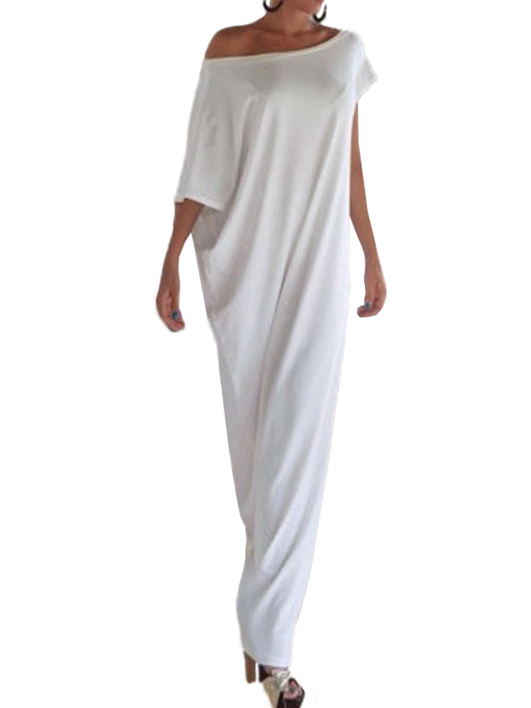 4XL 5XL Plus Size Dress Sexy Women Summer Long Maxi Dress Slash Neck One Shoulder Casual Loose Dress White/Black Vestido Longo