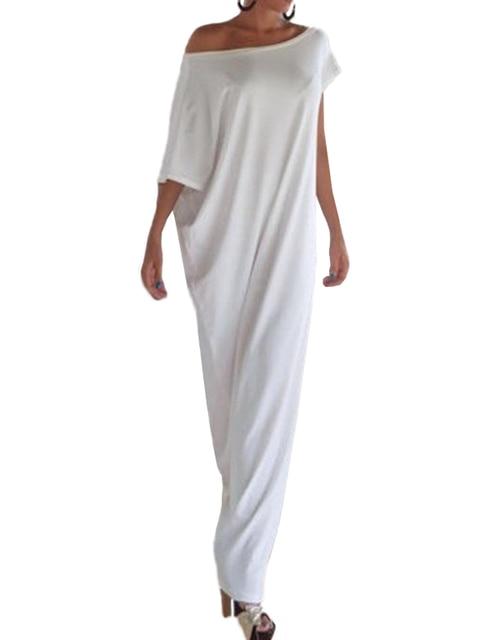 4XL 5XL Plus Size Dress Sexy Women Summer Long Maxi Dress Slash Neck One Shoulder Casual Loose Dress White/Black Vestido Longo