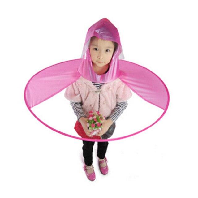 b61936e38bd Portable PVC Sleeveless Kids Poncho Raincoat UFO Shape Bamboo Rain Hat  Transparent
