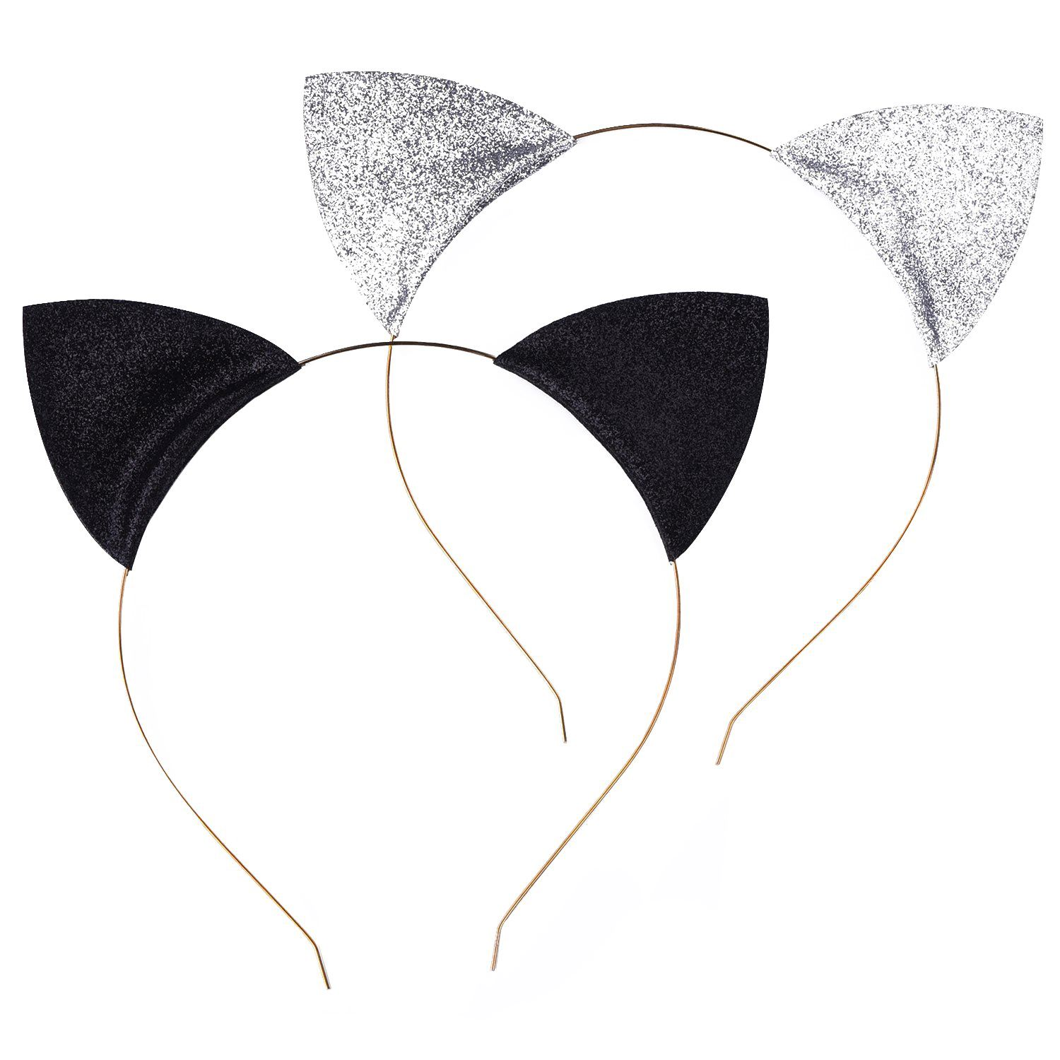 Glitter Cat Ears Headbands Cats Ear Hair Hoops Clasps for Party and Daily Wearing, Black and Silver, 2 Pieces