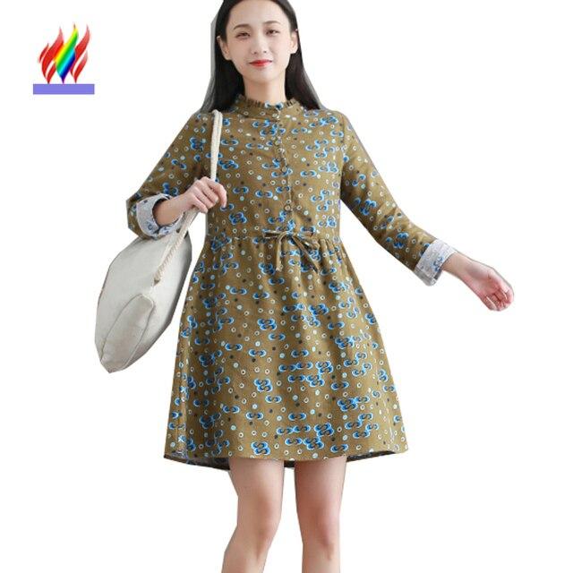 9453360cbc Cute Sweet Dresses 2018 Japan Preppy Style Design Women Spring Autumn Long  Sleeve Girl Floral Print Vintage Basic Shirt Dress