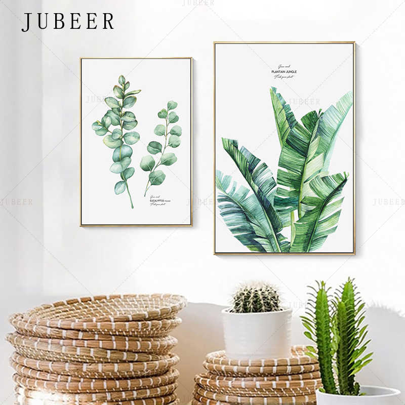 JUBEER Tropical Plant Canvas Painting Eucalyptus Leaves Poster and Prints Banana Leaf Wall Art Decoration Picture Home Drcor