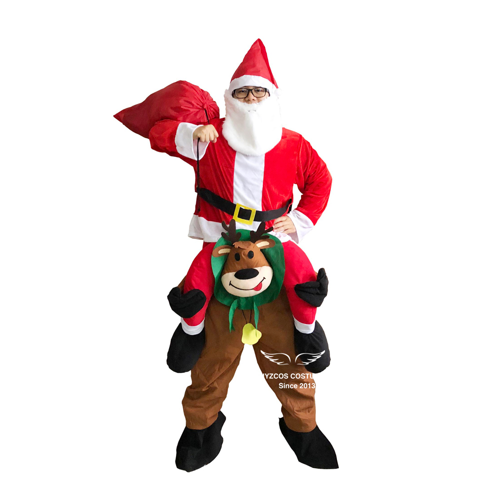 Adult Christmas Santa Claus Costume Ride on Deer Santa Claus Costume Halloween Cosplay Costumes for Women Carnival Purim Costume in Game Costumes from Novelty Special Use