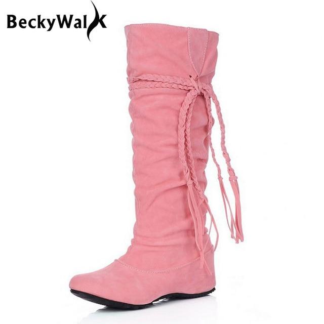 New Women Boots Autumn Winter Fringe Half Knee High Boots Ladies Tassel Fashion Shoes Woman Bota Feminina Plus Size 34-43 WSH762