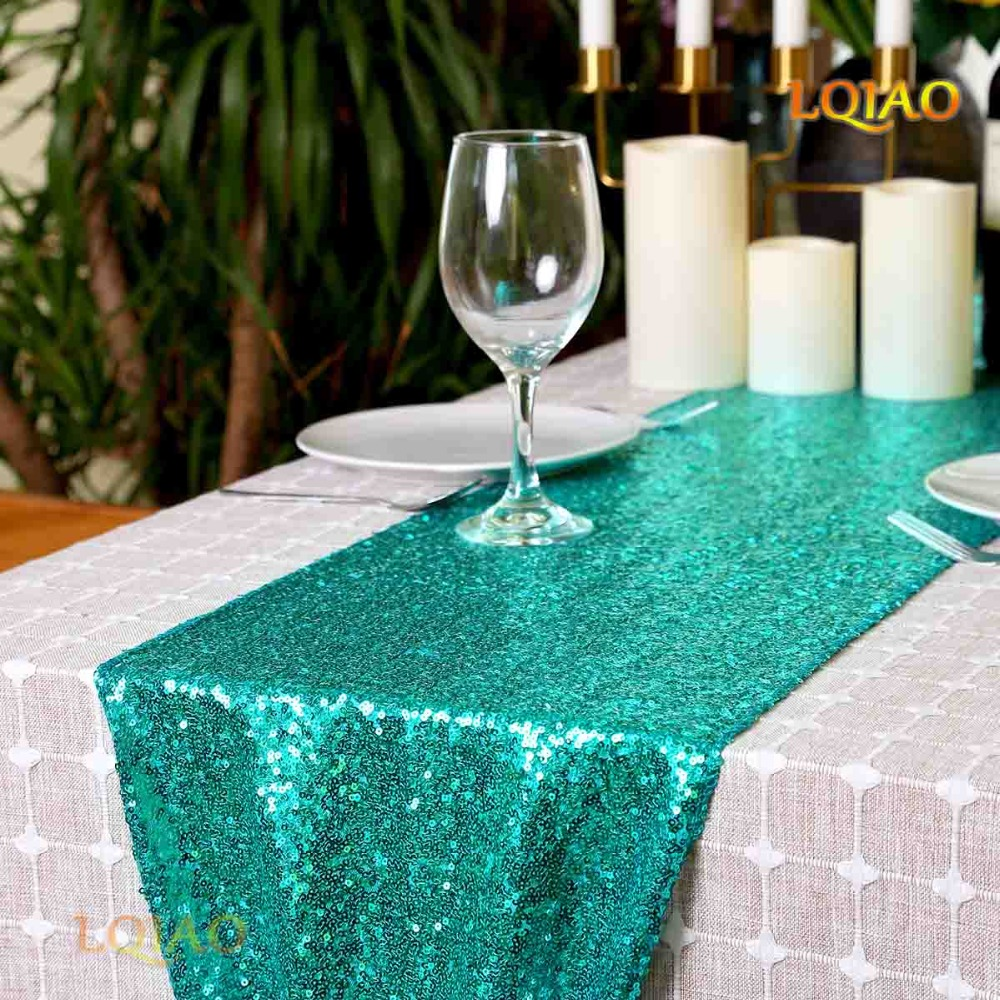 LQIAO Sparkly Green Sequin Table Runner Paillette Fabric ...